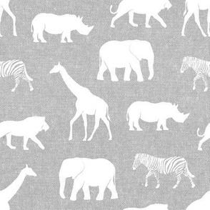 safari animals - light grey