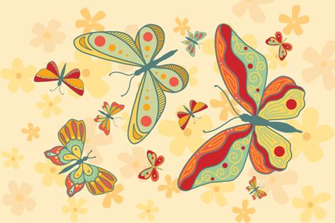 Butterfly Tea Towel fabric by crookedlittlestudio on Spoonflower - custom fabric