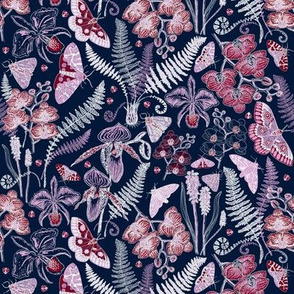 Orchid Botanical Study (navy) small