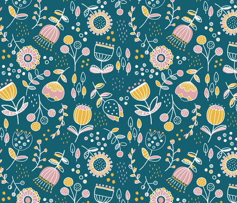 Floral Limited Colour Challenge fabric by stephaniethornedesign on Spoonflower - custom fabric