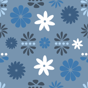 Abstract Floral Fun, Blue