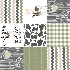 Farm//Love you till the cows come home//Ecru&Sage Green - Wholecloth Cheater Quilt - Rotated