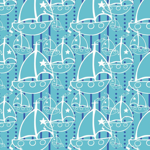 Sail Boats in Light Blue - Gender Neutral