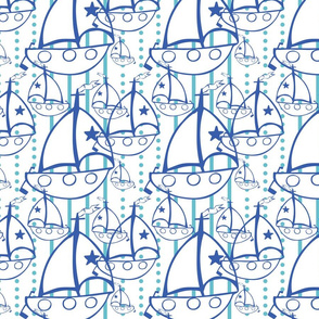 Sail Boats in white - Gender neutral