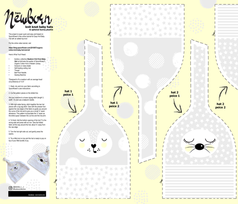 Cut&Sew_2 Newborn Knot Baby Hats & Bunny Plushie fabric by booboo_collective on Spoonflower - custom fabric