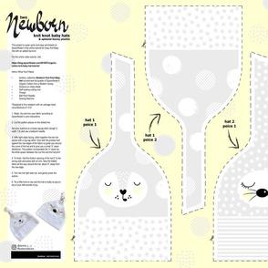 Cut&Sew_2 Newborn Knot Baby Hats & Bunny Plushie