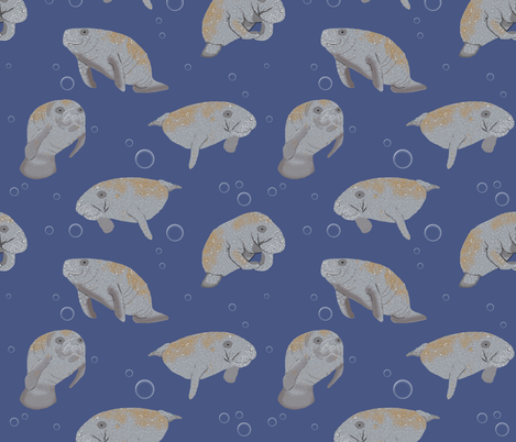 Manatees and Bubbles fabric by amy_hadden on Spoonflower - custom fabric
