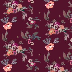 Fall flowers on mulberry wine dark red