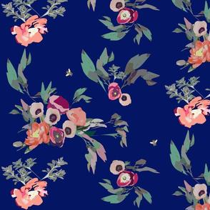 fall flowers on royal blue