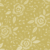 Hand-Drawn White Embroidered Roses on Lime Background