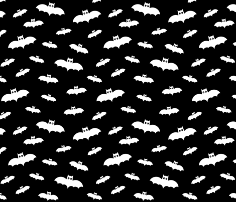 bats on black 60% smaller » halloween fabric by misstiina on Spoonflower - custom fabric