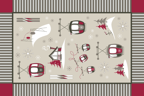 Vintage Ski TEA TOWEL (Woodland) fabric by brendazapotosky on Spoonflower - custom fabric