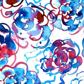 red white and blue watercolor floral