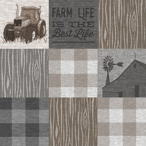 Custom Farm Life Quilt - Brown And grey