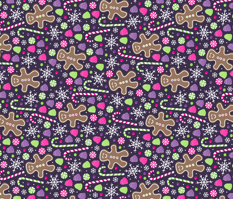 Jolly Gingerbread (Rotated) fabric by robyriker on Spoonflower - custom fabric