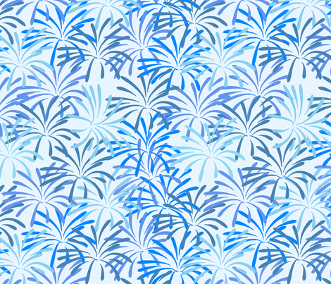 Fireworks splash Tonal Blue fabric by karwilbedesigns on Spoonflower - custom fabric