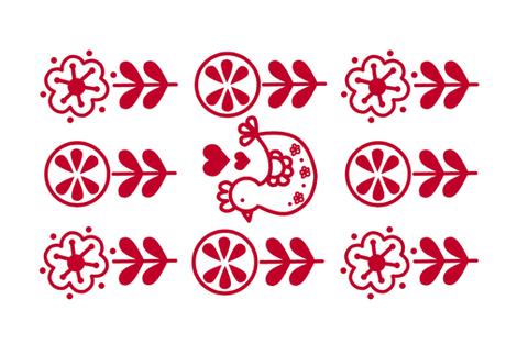 Spring Chicken Folk Tea Towel fabric by kathrinlegg on Spoonflower - custom fabric