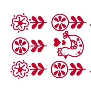 Spring Chicken Folk Tea Towel