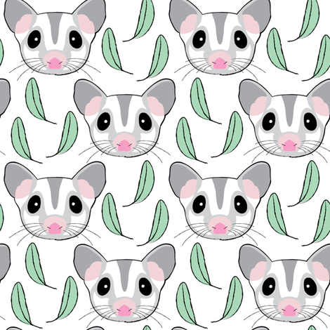 sugar-gliders-with-eucalyptus-leaves fabric by lilcubby on Spoonflower - custom fabric