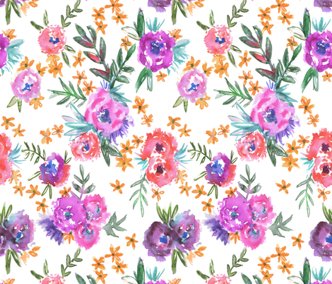 MarionFloral_1 white fabric by schatzibrown on Spoonflower - custom fabric