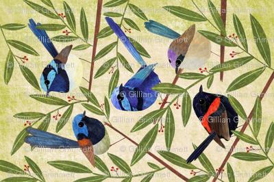 Fairy Wrens, hand painted colourful bird teatowel