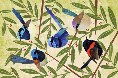 Fairy Wrens, hand painted colourful bird teatowel fabric by red_raspberry_design on Spoonflower - custom fabric