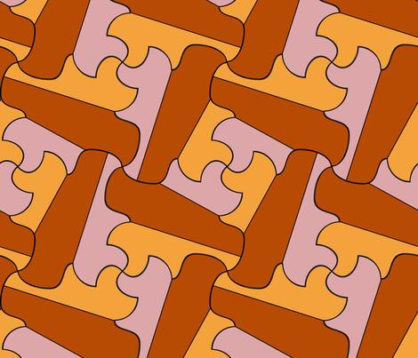 Brown and yellow geometry tessellation fabric by tashakon on Spoonflower - custom fabric