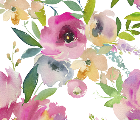 Watercolor Spring Floral Wallpaper Marifly Spoonflower