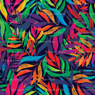 Tropical autumn leaves at midnight