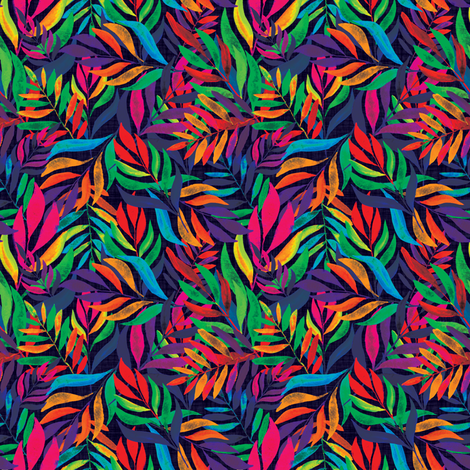 Tropical autumn leaves at midnight fabric by thepoonapple on Spoonflower - custom fabric