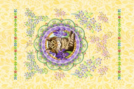 Portrait of an elegant cat fabric by patriciasheadesigns on Spoonflower - custom fabric