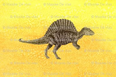Dinosaur illustrated tea towel