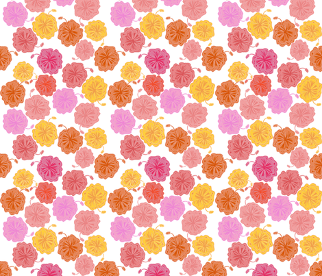 Hibiscus Hawaiian Flowers in Pinks and Corals on White fabric by paper_and_frill on Spoonflower - custom fabric