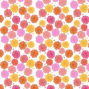Hibiscus Hawaiian Flowers in Pinks and Corals on White