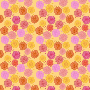 Hibiscus Hawaiian Flowers in Pinks and Corals on Yellow