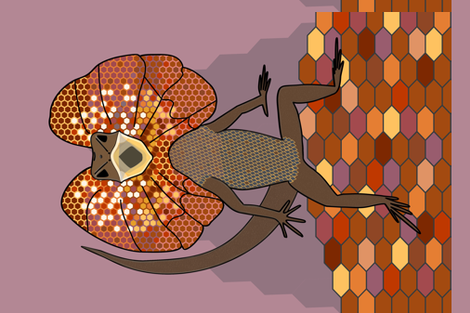 Frilly mad! Frilled neck lizard  fabric by dustydiscoball on Spoonflower - custom fabric