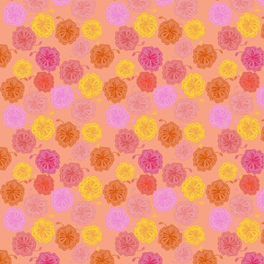 Hibiscus Hawaiian Flowers in Pinks and Corals on Peach