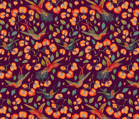 humming orchids on burgundy fabric by stargazingseamstress on Spoonflower - custom fabric