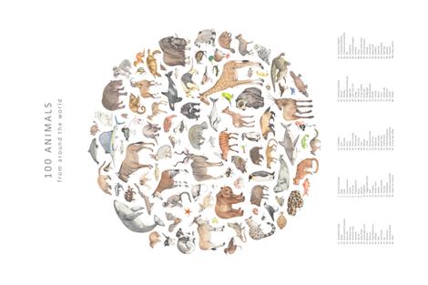 Illustrating animals tea towel fabric by daniwilliams on Spoonflower - custom fabric