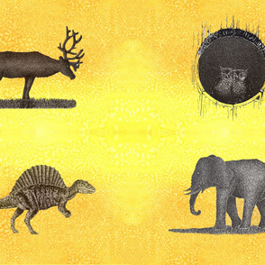 Dino elk elephant owl Tea towel