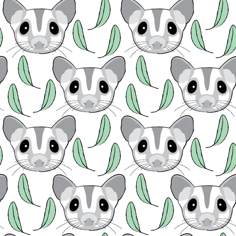 grey sugar-glider-with-eucalyptus-leaves fabric by lilcubby on Spoonflower - custom fabric