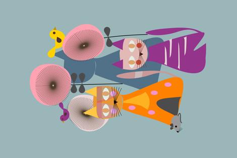 Cats TeaTowel  fabric by mirimo_design on Spoonflower - custom fabric