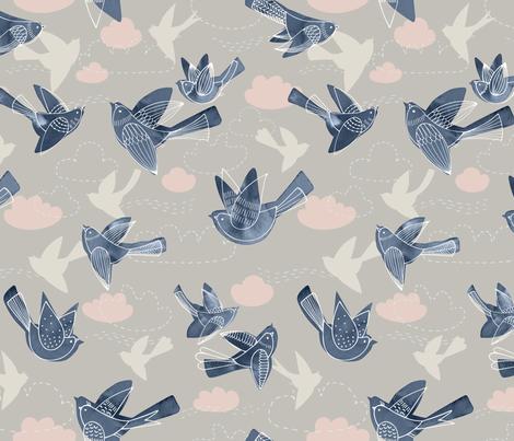 Birds in the Sky fabric by marketa_stengl on Spoonflower - custom fabric