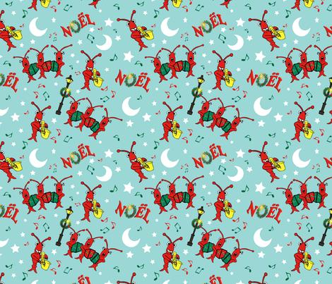 Cute Caroling Cajun Crawfish Christmas fabric by enchanted_bayou on Spoonflower - custom fabric