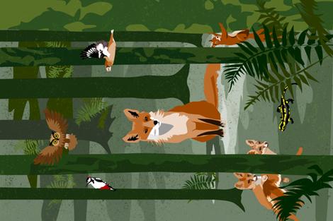 fox and friends tea towel fabric by michaelakobyakov on Spoonflower - custom fabric