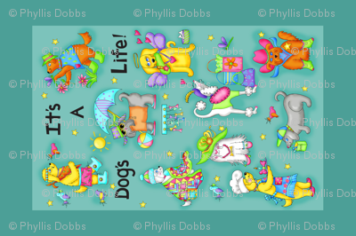 Its a dogs life tea towel Teal