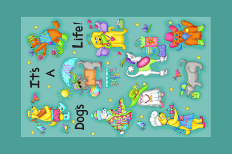 Its a dogs life tea towel Teal fabric by phyllisdobbs on Spoonflower - custom fabric