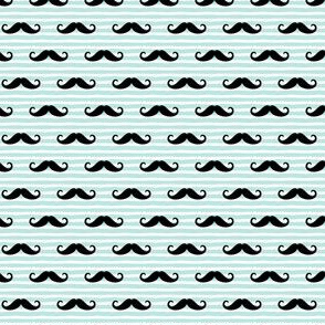 (small scale) mustache on stripes - paramour blue C18BS