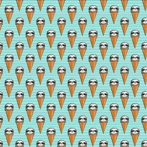 "(3/4"" scale) sloth icecream cones (teal stripes) C18BS"