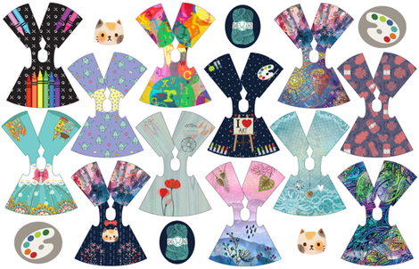 Crafty Collection 14 inch doll dresses fabric by dollproject on Spoonflower - custom fabric